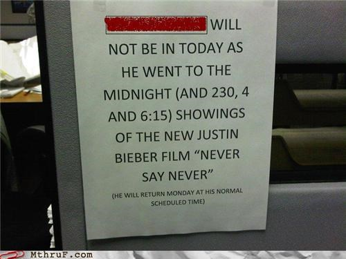 Bieber humiliation Movie never say never sign