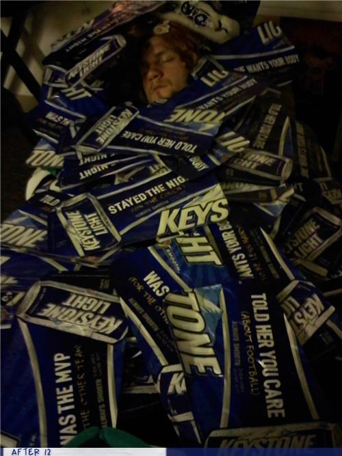 cardboard,drunk,keystone,passed out,stacking