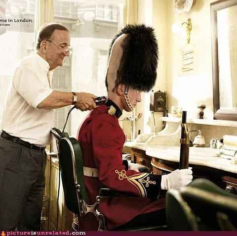 awesome,british guard,coneheads,coneheads reference,hair cut,wtf