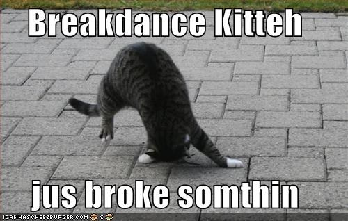 borked,breakdance,breakdancing,cyoot kitteh of teh day,hurt