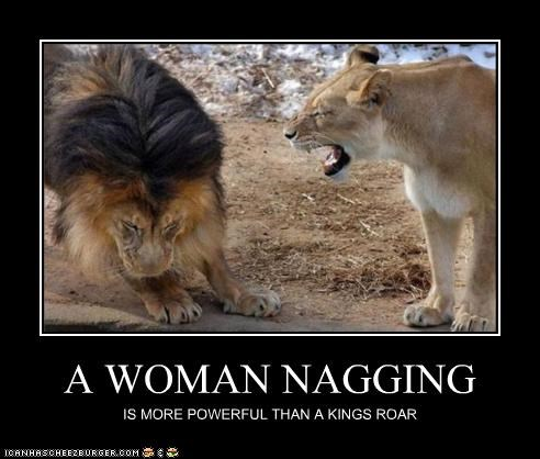 A WOMAN NAGGING IS MORE POWERFUL THAN A KINGS ROAR