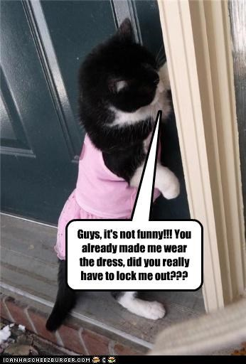 Guys, it's not funny!!! You already made me wear the dress, did you really have to lock me out???