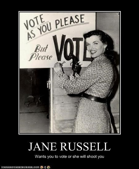 actress,beautiful,Jane Russell,kill,shoot,smile,vote