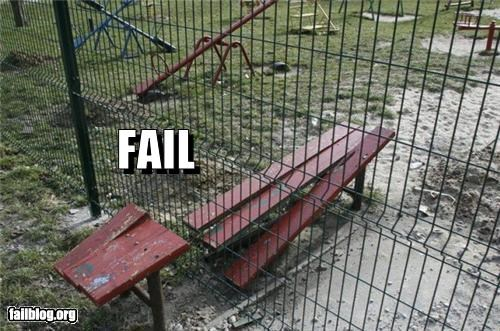 bench,failboat,fence,g rated,poor planning