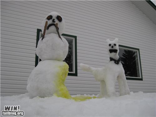 dogs,pee,snow,snowmen,snowpocalypse,winter,Winter Wonderland
