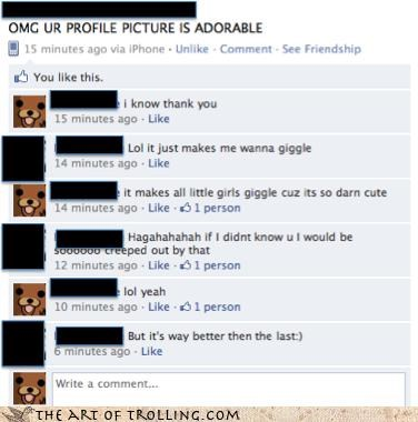 adorable,facebook,giggle,girls,pedobear,profile picture,successful