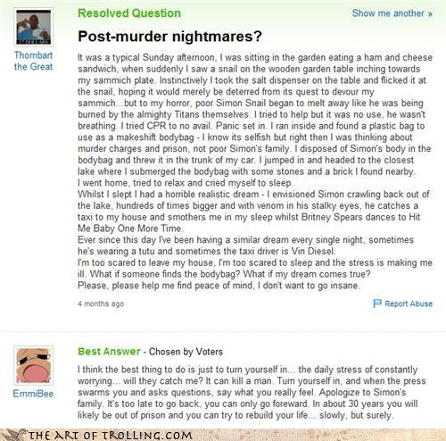 help insanity murder nightmares simon titans Yahoo Answer Fails - 4460569856