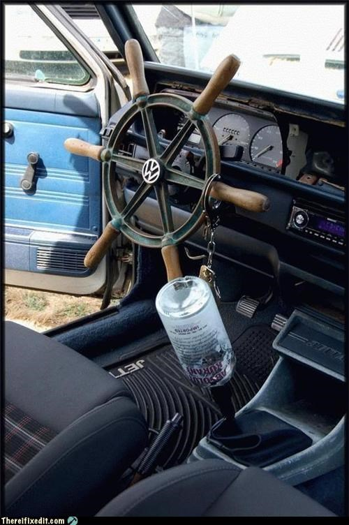 boats cars driving dual use steering wheel wtf