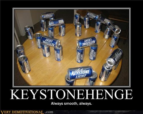 beer cans stonehenge table