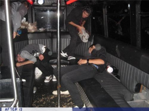 bus,messy,Party,passed out