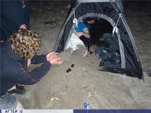 bad idea,camping,passed out,sand,tent