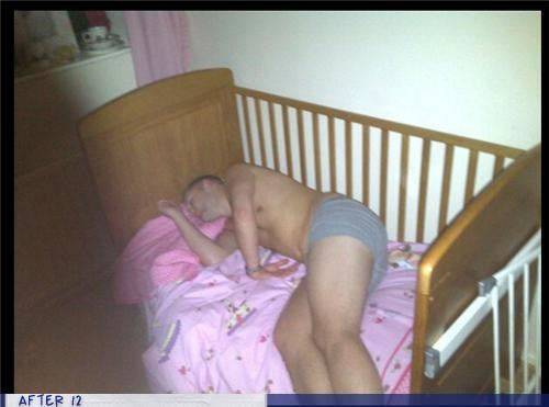 baby,bed,drunk,passed out,pink