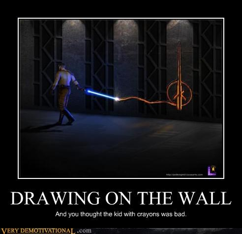 crayons drawing hilarious Jedi star wars wall