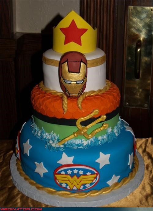 awesome wedding cake,bride,Dreamcake,fondant,funny wedding photos,groom,iron man wedding cake,parade float wedding cake,superhero logos,superhero wedding cake,surprise,themed wedding cake,Wedding Themes,wonder woman wedding cake