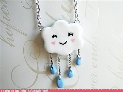 beads chain cloud face Jewelry necklace pendant rain