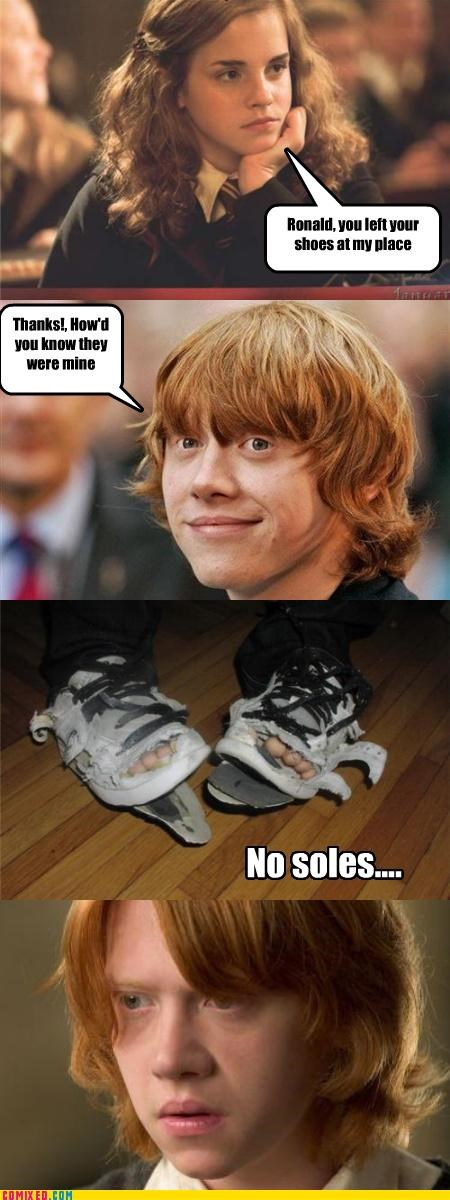 gingers,Harry Potter,hermione,no souls,puns,Ron Weasley,shoes
