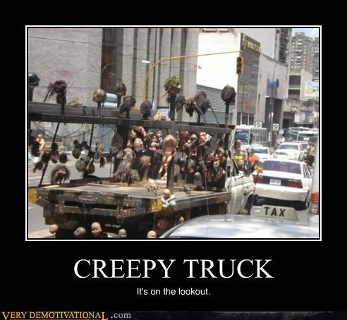 creepy,dolls heads,truck,wtf