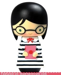 book,book club,figurine,girl,wood