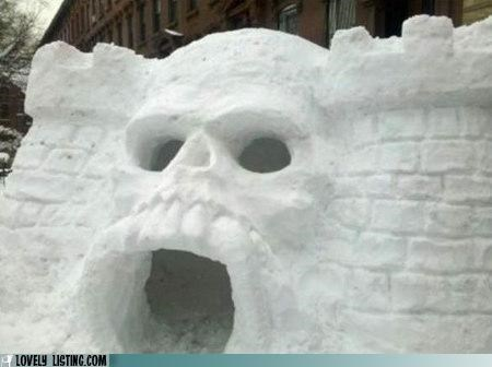 castle,igloo,new york,skull,snow,snow fort