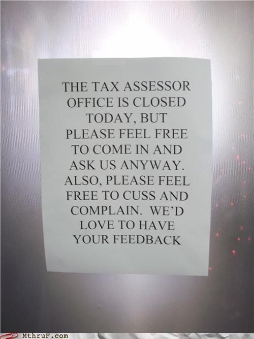 feedback,note,passive aggressive,sign,tax
