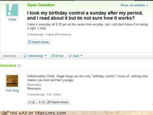 birth control birthday drugs Yahoo Answer Fails - 4463587072