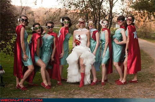 comic wedding,funny wedding photos,super bridemaids,supergirl wedding,superhero wedding,superhero wedding theme