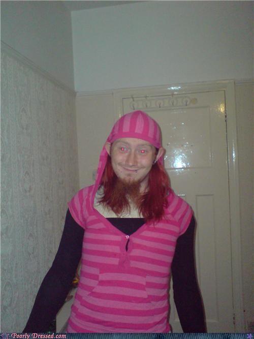 cross dresser,dwarf,elf,goatee,hoodie,link,pink,weird
