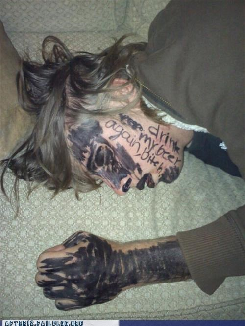 black,mad,marker,passed out,sharpie