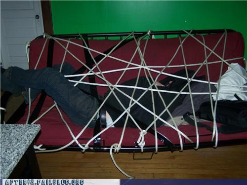 bed,drunk,passed out,prank,rope,stacking