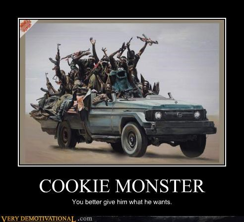 Cookie Monster,truck,weapons