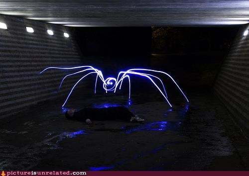 art,awesome,light,long exposure,monster,spiders,wtf