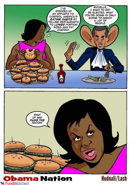 barack obama,cartoons,dumb,eating,fat,food,healthy,idiots,Michelle Obama