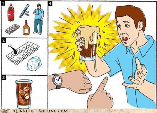 diet coke,explosion,ice cubes,mentos,prank