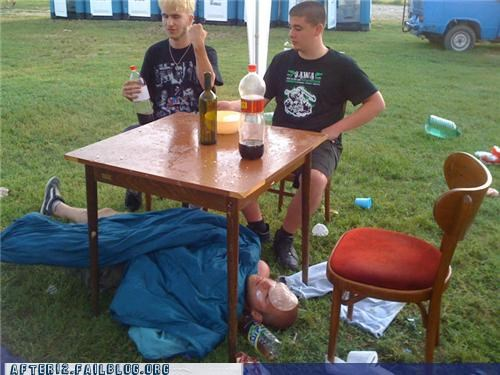 coke,drunk,outdoors,passed out,sleep,table
