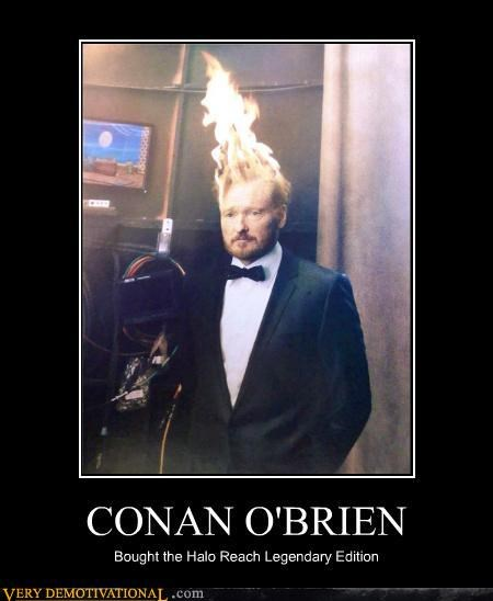 conan obrien,halo reach,head on fire,video game