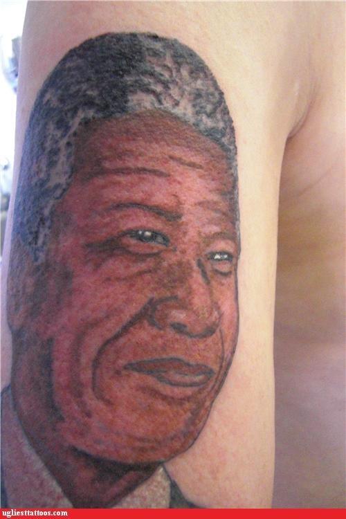 portraits tattoos nelson mandela jk funny - 4467771136