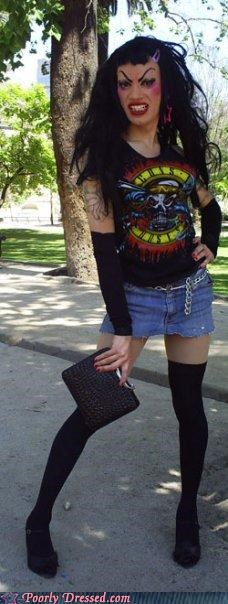 guns and roses,high heels,makeup,skirt,sweet dee,weird,wtf