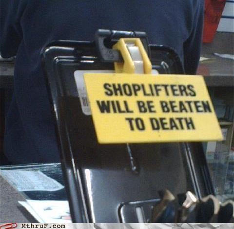 punishment retail shoplifting sign - 4468832256