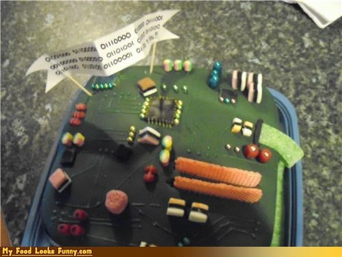 binary,birthday,cake,candy,circuit board,fondant