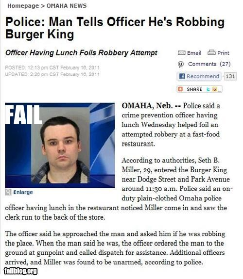 burger king cops failboat g rated off duty Probably bad News robbery - 4469182976
