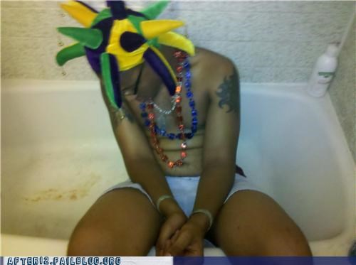 bath bathroom drunk hat passed out tub - 4469477376