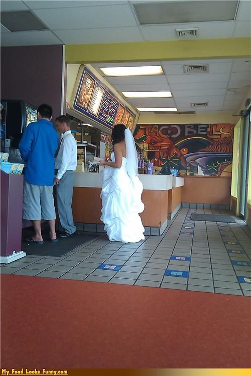 bride fast food places restaurant taco bell wedding