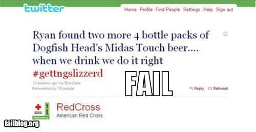 beer Blood drunk failboat g rated oops red cross tweets twitter while at work wrong account