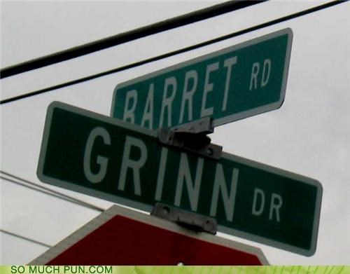 bare bare it barret grin grinn homophone homophones intersection it pun sign signs street street sign street signs