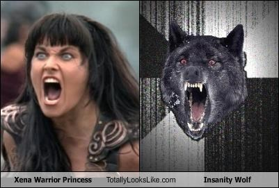 angry Insanity Wolf Lucy Lawless Memes TV wolf Xena yelling - 4470493952