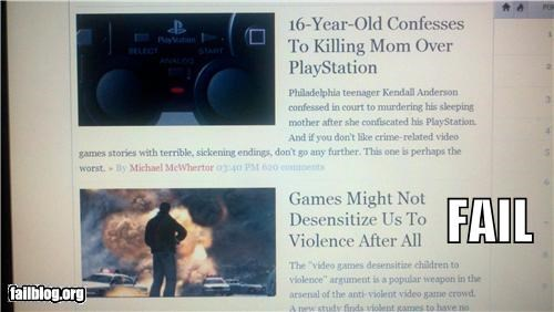 Kotaku Fail As seen on Kotaku's main feed, article times 3:40 and 3:20.