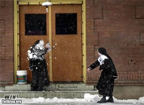 nuns religion snow snowball winter - 4471889664