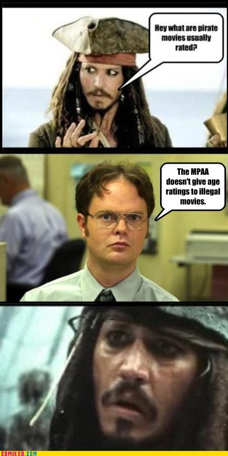 dwight schrute,Johnny Depp,jokes,lol,MPAA,pirates,puns