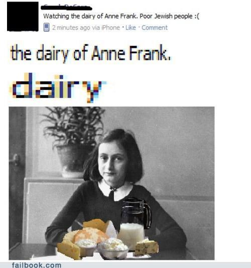the dairy of anne frank failbook failing on facebook