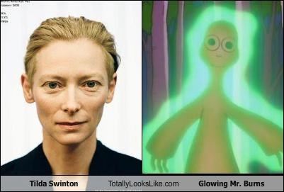 actress,cartoons,Montgomery Burns,mr burns,the simpsons,tilda swinton